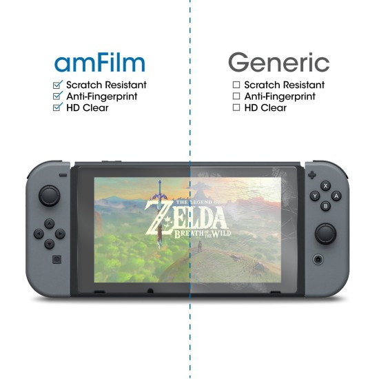 amFilm Nintendo Switch Tempered Glass Screen Protector (2-Pack) | Nintendo Switch
