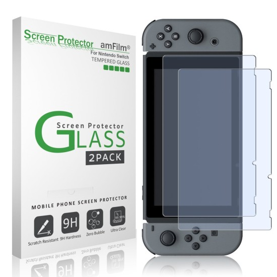 amFilm Nintendo Switch Tempered Glass Screen Protector (2-Pack)   Nintendo Switch
