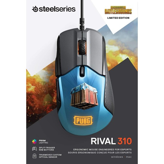 SteelSeries Rival 310 - PUBG Edition Gaming Mouse - Black / Blue