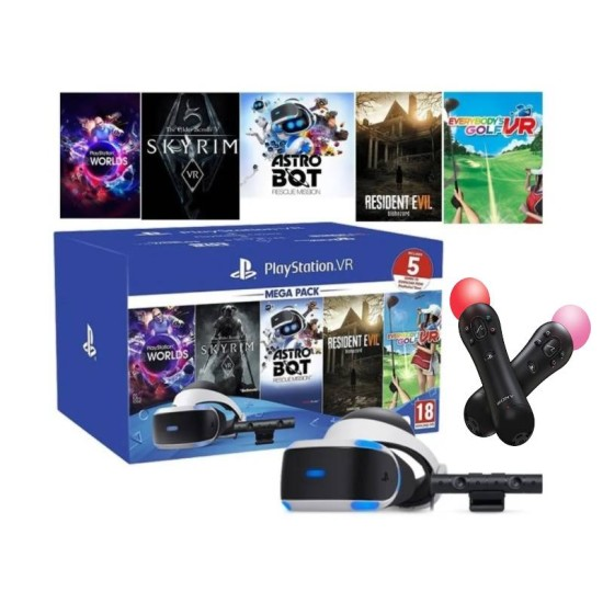 Sony PlayStation VR Mega Pack - 5 Games Bundle + 2 Motion Controller Bundle   PSVR