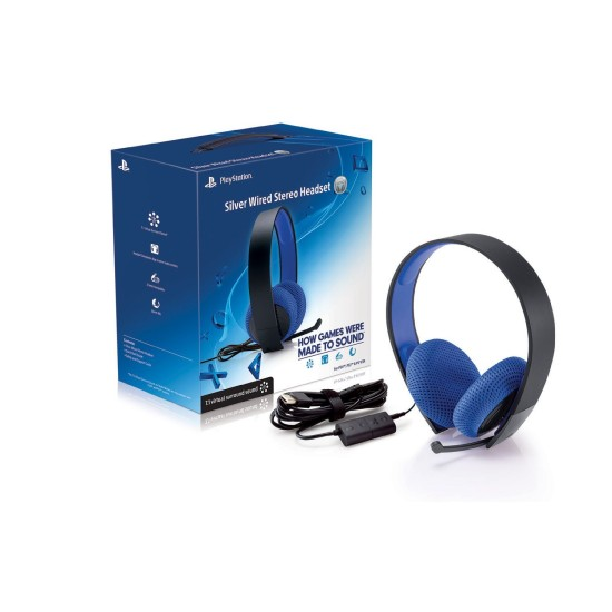 Sony Silver Wired Stereo Headset PS4/PS3/PSVita