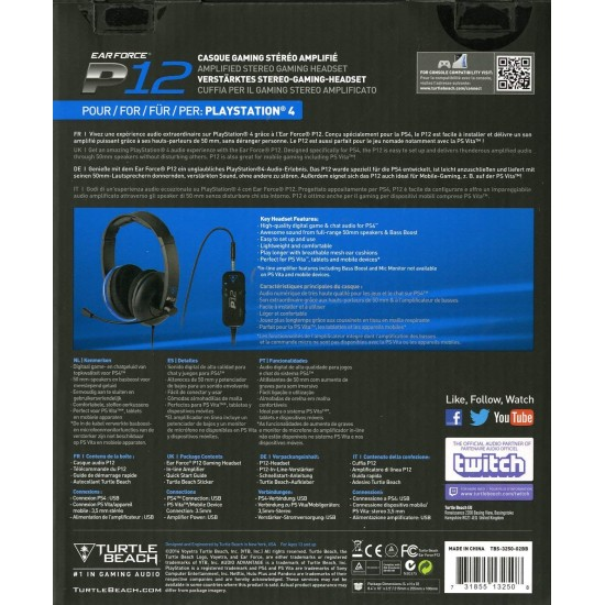 Turtle Beach - Ear Force P12 Amplified Stereo Gaming Headset - PS4 / PS Vita / Mobile Devices