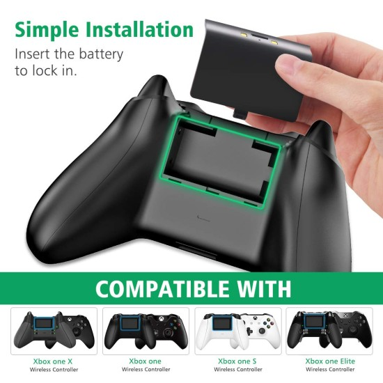 OIVO Dual Controller Fast Charger - LED Strap - 2 Rechargeable Battery Packs - black - Xbox One S / X / Elite