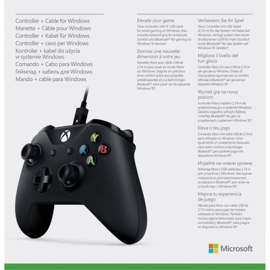 Microsoft Xbox One Wireless Controller + Cable for Windows - Black | XB1 / PC