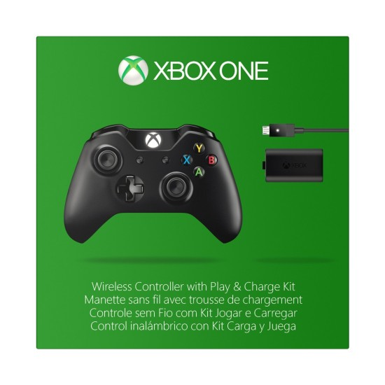 Microsoft Xbox One Wireless Controller with 3.5mm Stereo Headset Jack and Play & Charge Kit for XB1 / PC