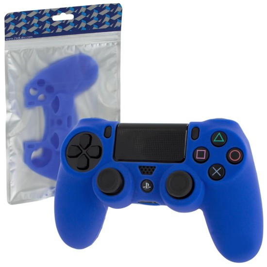 ZEDLABZ PS4 Controller Silicon Skin Protective Cover With Ribbed Handle Grip - BLUE | PS4