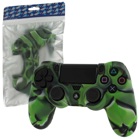 ZEDLABZ PS4 Controller Silicon Skin Protective Cover With Ribbed Handle Grip - CAMO GREEN| PS4