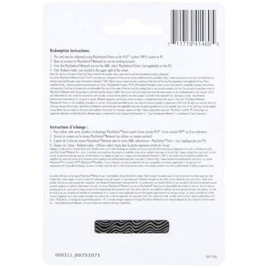 CDN$50 Canada PlayStation Store Gift Card - PS3/ PS4/ PS Vita - Digital Code