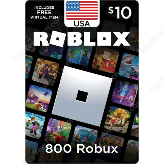 $10 USA Roblox Gift Card - 800 Robux - Digital Code