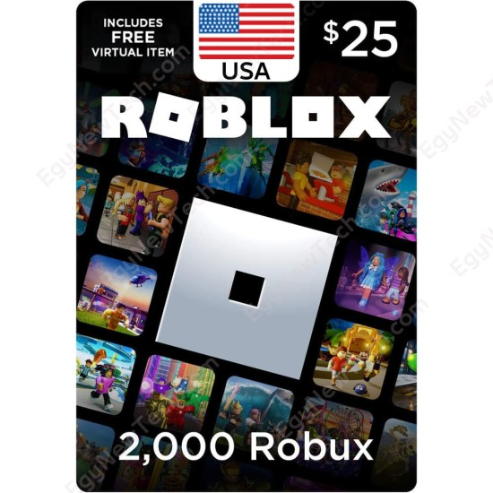$25 USA Roblox Gift Card - 2000 Robux - Digital Code