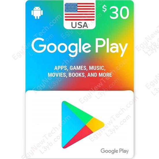 $30 USA Google Play Gift Card - Digital Code