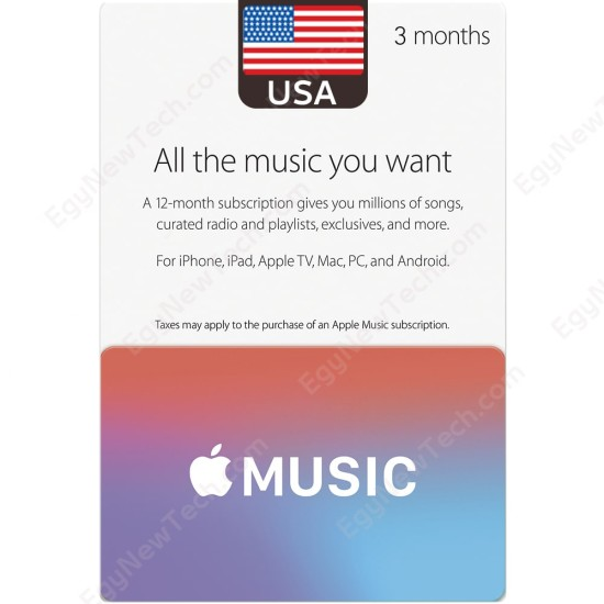 3 Months USA Apple Music Membership - Digital Code