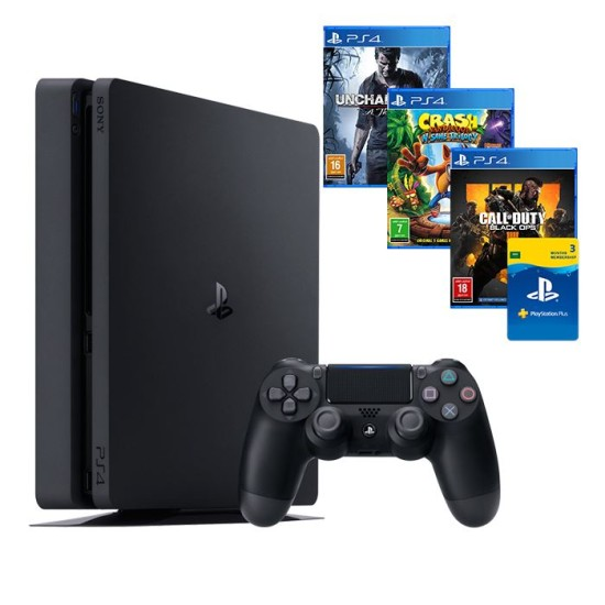 Sony PlayStation 4 Slim - 500GB - 3 Games Hits bundle -Call Of Duty BO IV-Crash-Uncharted 4-3 month KSA Plus