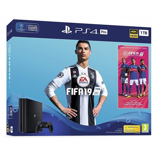 Sony PlayStation 4 Pro Console - Black - 4K 1TB with FIFA 19 Ultimate Team Icons and Rare Player Pack Bundle