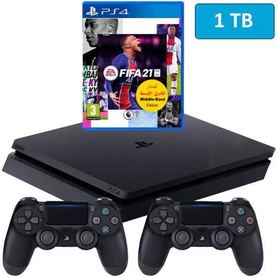 Sony PlayStation 4 Slim - 1 TB - Fifa 21 - 2 Controller Bundle - HDR - PSVR Ready