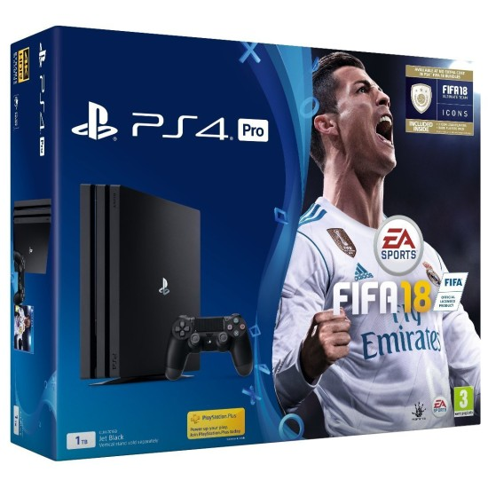 Sony PlayStation 4 Pro Console - Black - 4K 1TB + FIFA18 bundle - FIFA 18 Ultimate Team Icons and Rare Player Pack