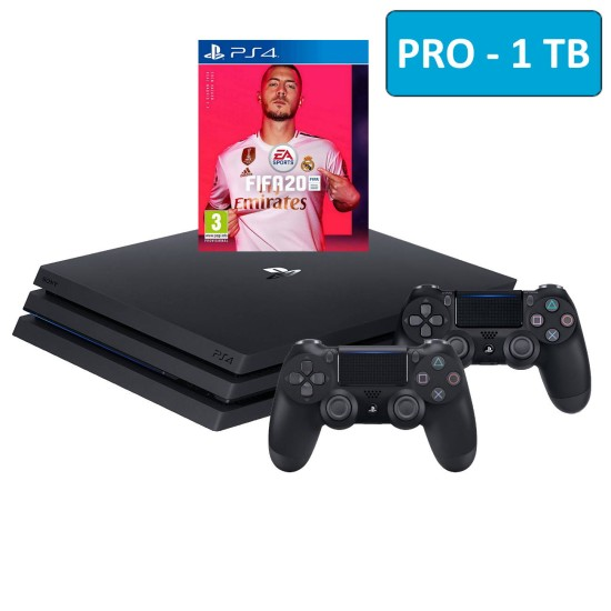 Sony PlayStation 4 Pro - 1 TB - Fifa 20 - 2 Controller Bundle - HDR - PSVR Ready