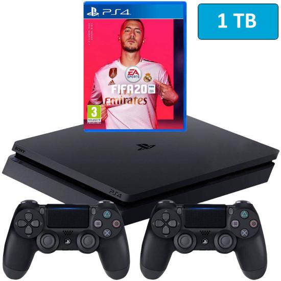 Sony PlayStation 4 Slim - 1 TB - Fifa 20 - 2 Controller Bundle - HDR - PSVR Ready