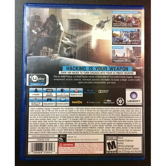 Watch Dogs -Used Like New | PS4